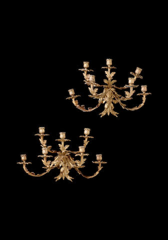 A pair of late 19th century French gilt bronze six light wall appliques