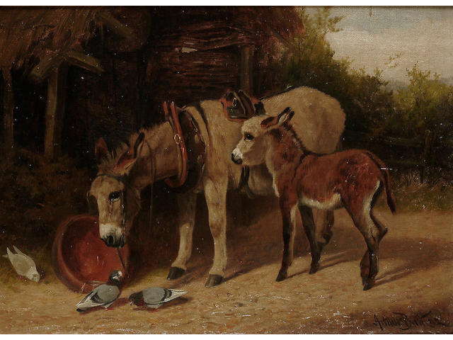 Arthur Batt (British, fl.1879-1892) Donkeys in a farmyard, 10 5/8 x 14 1/2in (27 x 36.8cm)