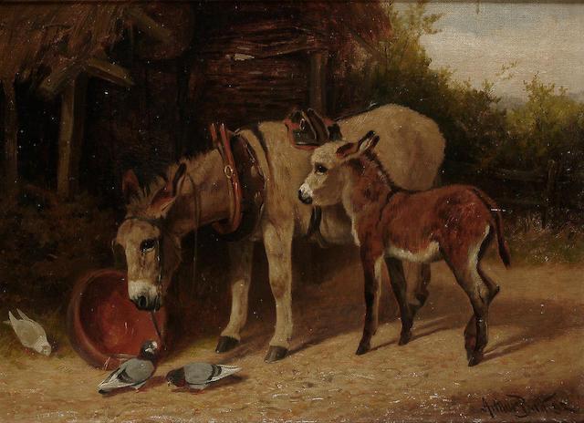 Arthur Batt (British, fl.1879-1892) Donkeys in a farmyard, 10 5/8 x 14 1/2in (27 x 36.8cm)