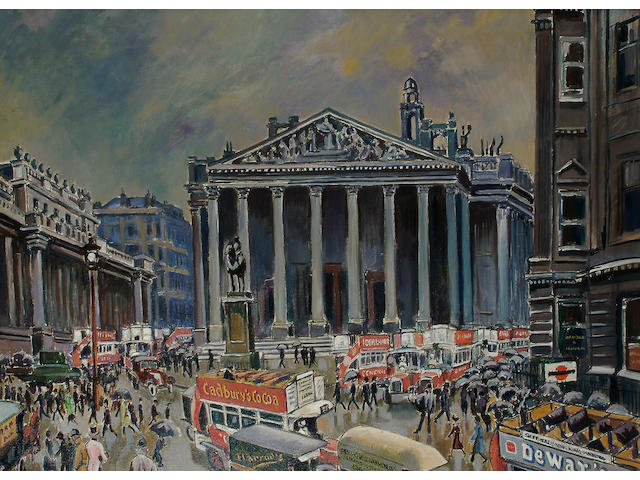 Ludovic-Rodo Pissarro (French, 1878-1952) The Royal Exchange, 23 x 31 1/4 in (58.5 x 79.3 cm).