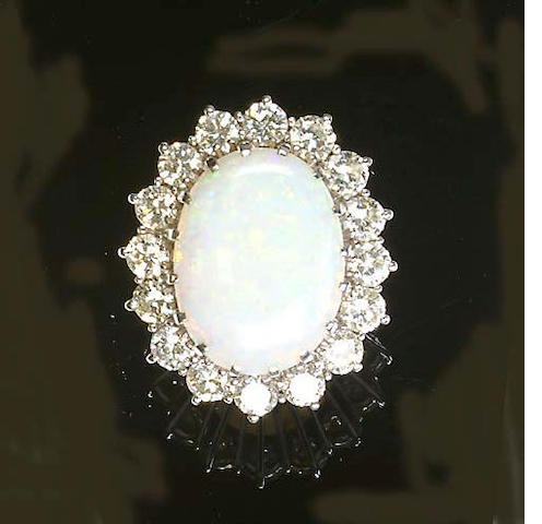 An opal and diamond cluster ring,