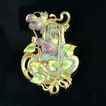 An art nouveau gold and enamel plaque brooch,
