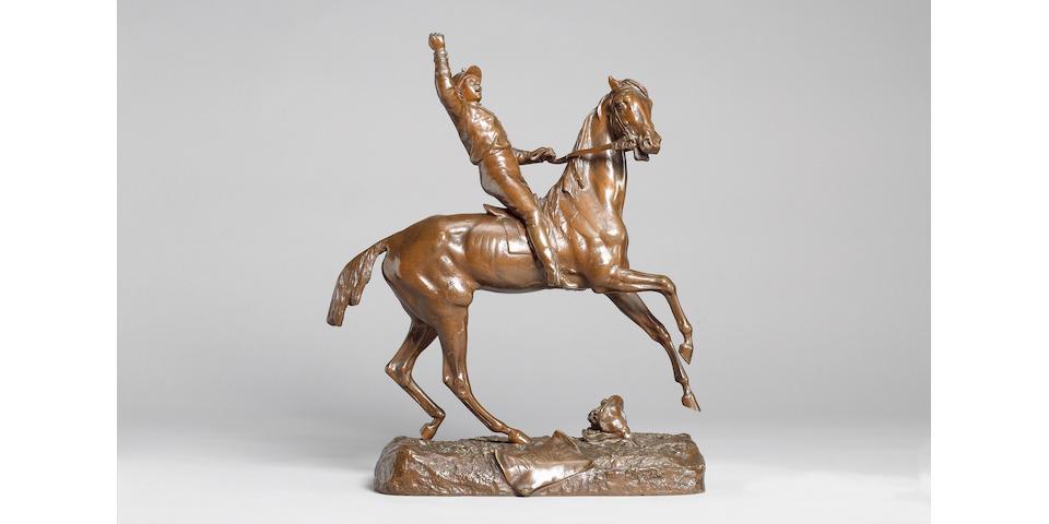 Prosper Lecourtier (French, 1855-1924): 'Arrivee', a bronze model of a jockey seated on horseback