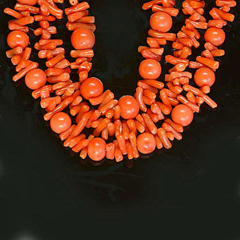 A Victorian three-strand coral necklace,