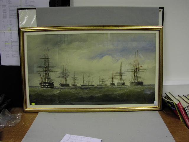 Battle fleet at sea - large watercolour
