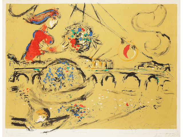 Marc Chagall Ile Saint-Louis Lithograph, 1959, printed in colours, on Arches, the full sheet, signed and inscribed 'Epreuve d'Artiste' in pencil, aside from the numbered edition of 75; mount stained, taped along top sheet edge, verso, faint time staining, 505mm x 670mm (19 7/8in x 26 3/8in)(I)