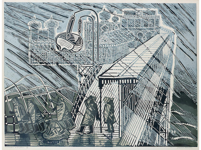 Edward Bawden Snowstorm at Brighton Linocut, printed in colours, on wove, signed, titled and numbered 40/40 in black ballpoint; faint time staining, unexamined out of the frame, 450mm x 610mm (17 3/4in x 24in)(I)