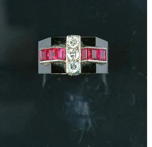An art deco onyx, ruby and diamond ring,
