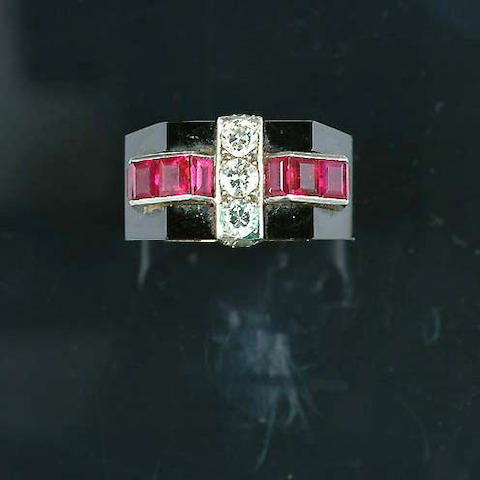 An art deco onyx, ruby and diamond ring,