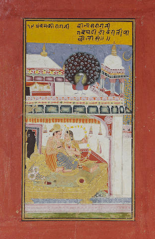 Vibhasa ragini : A royal couple embracing in a palace bed-chamber, the prince aiming a bow and arrow Kotah, early 18th Century