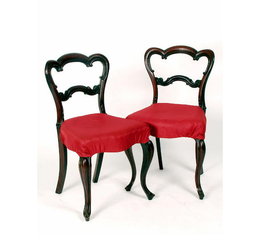 A set of four mid Victorian rosewood dining chairs