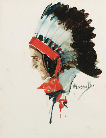 John Hassall R.I. (North American/British, 1868-1948) A study of a native American wearing a feathered headdress 16.5 x 12.7 cm. (6 1/2 x 5 in.)