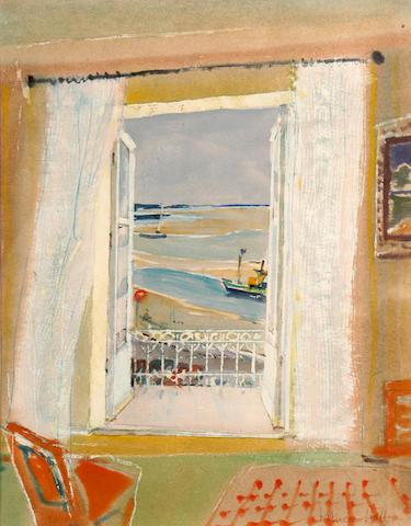 Patrick Hall view through a window, Crotoy, 45 x 35cm