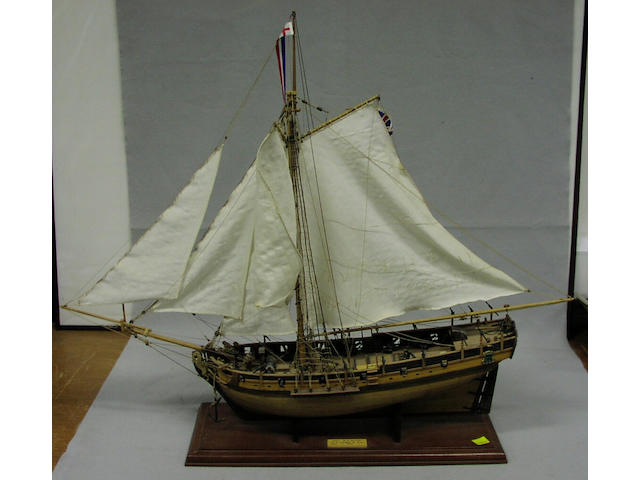 A modern model of HMS Resolution, 81 x 18 x 69cm.