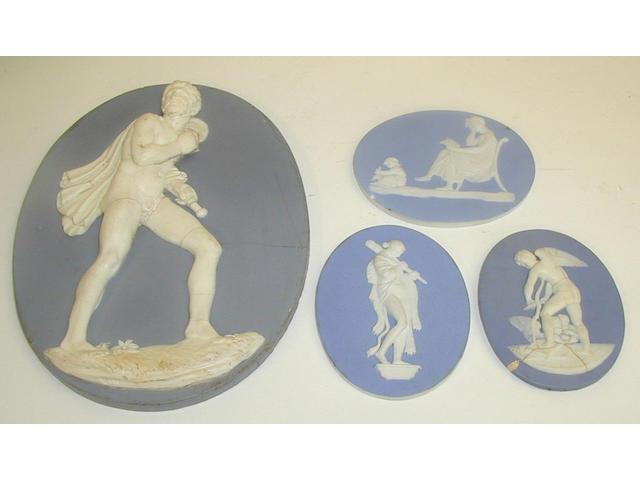 Two Wedgwood blue jasper plaques