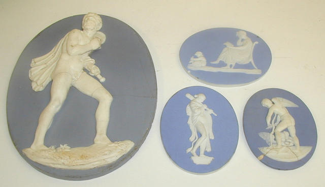 Two Wedgwood blue jasper plaques
