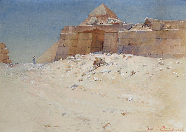 Howard Carter (British, 1874-1939) A Mastaba behind the Pyramid of Khufu, Giza 21.6 x 29.8 cm. (8 1/