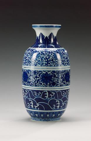 A blue and white oviform vase,