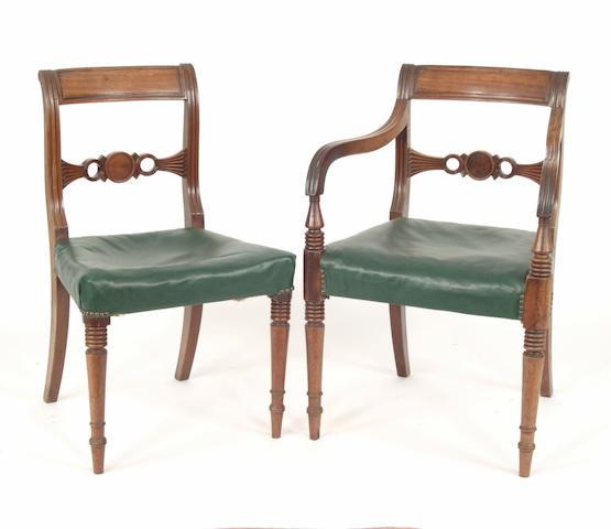 A set of six Regency mahogany dining chairs