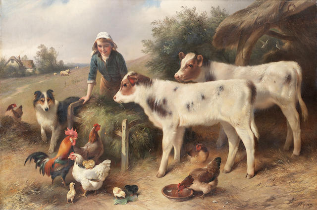Walter Hunt (British 1861-1941) Feeding time 51 x 76.5 cm. (20 x 30 in.)