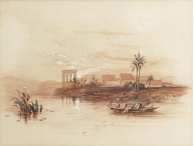 David Roberts R.A., British, (1796-1864) General view of the Island of Philae, Nubia 19 x 25.4 cm. (