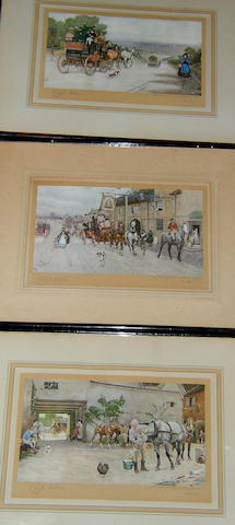 After Cecil Charles Windsor Aldin The Pickwickians nearing Rochester; The Bell at Stilton; The White Hart at Hook; The Bull at Dartford; The Angel Hotel; The Talbot at Ripleyall signed 'Cecil Aldin' in pencil, printed in colours, 21 x 32.5cm (8¼ x 12¾in). (6)