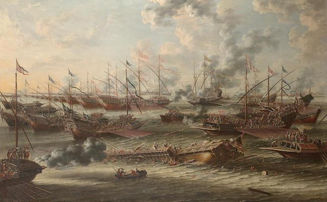 Laureys A. Castro (active circa 1664-1700) The Battle of Lepanto 100 x 158 cm. (39 3/8 x 62¼ in.)