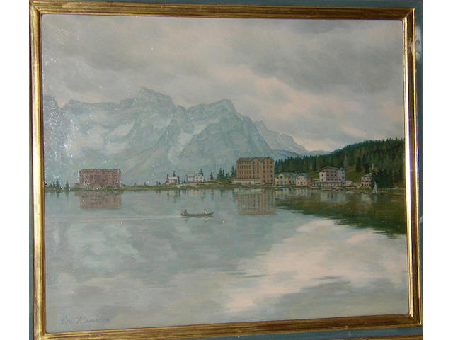 Eric Ramsden (20th Century) British, Swiss lake viewsigned 'Eric Ramsden', oil on board, 46 x 66cm (18 x 22in).