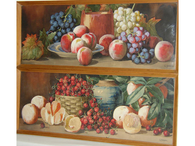 Giovanni Barbaro (fl. 1890-1907) British, Cherries and oranges; grapes and peachesboth signed 'G. Barbaro', watercolour over pencil heightened with bodycolour, 29 x 76cm (11½ x 30in), a pair. (2)