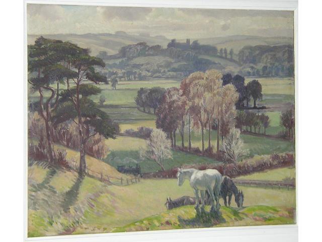 Harold Dearden (1888-1969) British Horses in a field above a railwaysigned 'H. Dearden', oil on canvas, 65.5 x 75.5cm (25¾ x 29¾in).