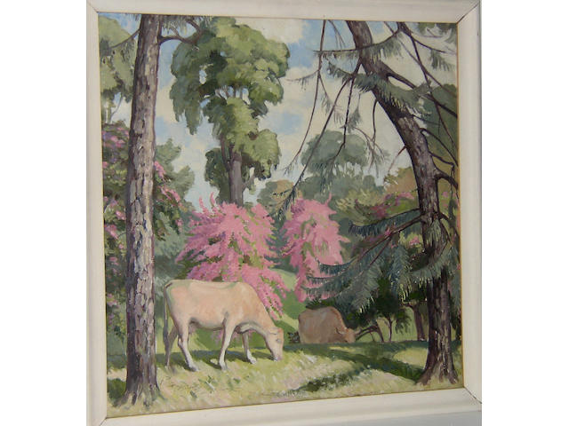 Harold Dearden (1888-1969) British Cattle grazing among treesoil on canvas board, 58.5 x 58.5cm (23 x 23in).