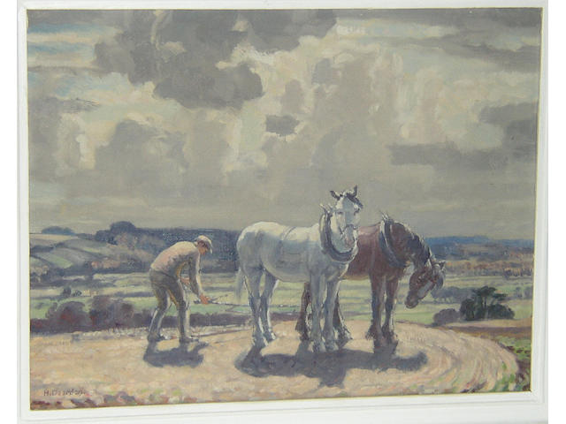 Harold Dearden (1888-1969) British Drover and shire horsessigned 'H. Dearden', oil on canvas, 34 x 44.5cm (13½ x 17¾in).