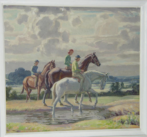 Harold Dearden (1888-1969) British Young Riderssigned 'H. Dearden', oil on canvas, 43.5 x 48cm (17¼ x 19¼in).