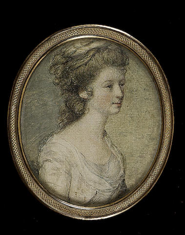 English School, A young Lady, wearing white dress, a white kerchief in her upswept hair
