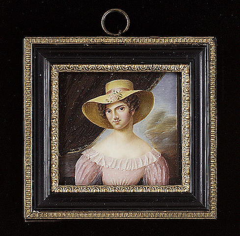 Alexandre Delatour, A Lady, wearing pink dress with white frilled collar and straw bonnet adorned with pink ribbon and rose, curtain and landscape background