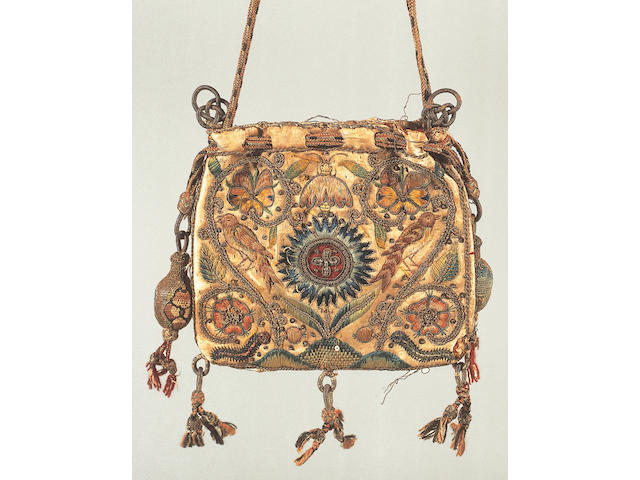 An early 17th Century drawstring purse,