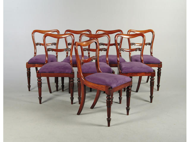 A set of eight William IV mahogany dining chairs