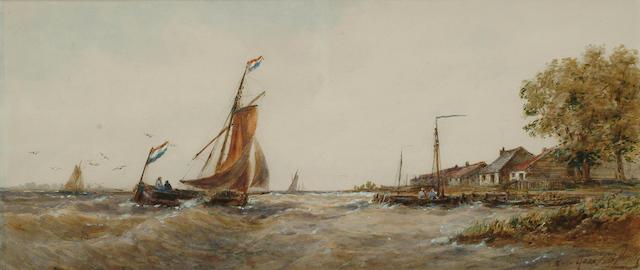 Follower of Thomas Bush Hardy, On the Maas, 20.3 x 47cm.