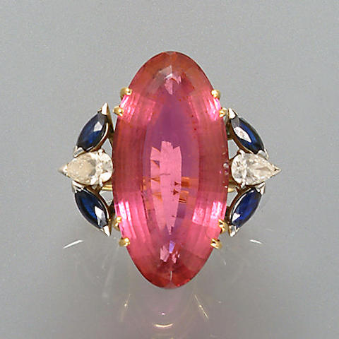 A tourmaline, diamond and sapphire ring, by Chaumet,