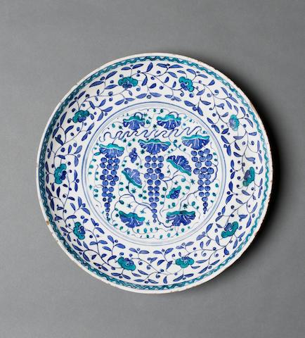 "An Iznik blue and white pottery ""Grape"" Dish Turkey, circa 1560"