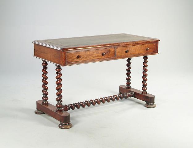 A Victorian mahogany library table