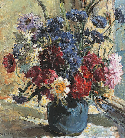 Dorothea Sharp RBA, ROI, VPSWA (1874-1955) British Flowers in a vase by a sunlit windowsigned 'Dorothea Sharp', oil on board, 39 x 36cm (15¼ x 14¼in).    See illustration