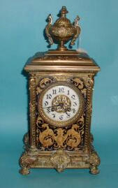A late 19th century French gilt-brass mantel clock