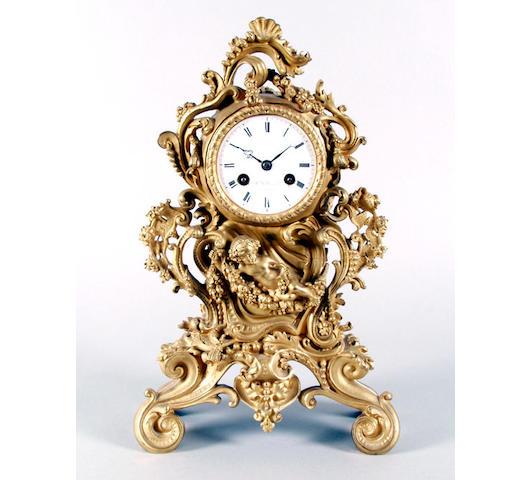 A late 19th Century French gilt mantel clock W B Promoli, Paris, 859,