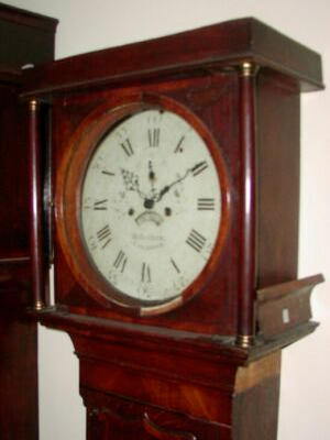 An oak and mahogany crossbanded white dial longcase clock, Charles Robotham, Leicester, circa 1785,