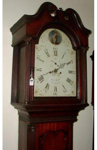 A mahogany and crossbanded white dial longcase clock, Richard Baker, Tamworth, circa 1795,