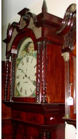 A mahogany and crossbanded painted dial longcase clock, Liverpool, circa 1850,