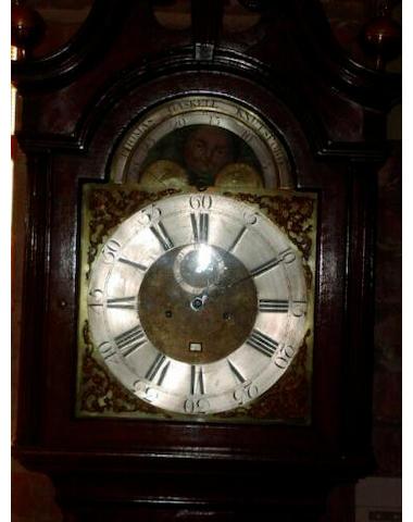 An oak and mahogany cross banded longcase clock, Thomas Gaskell, Knutsford, circa 1770,