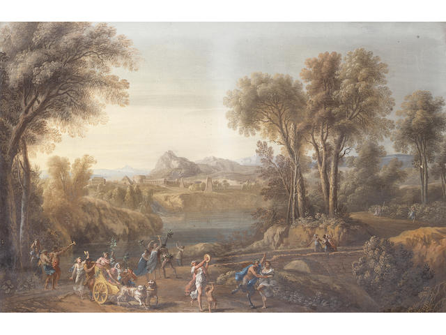 Attributed to Vincenzo Martinelli (Bologna 1737-1807) An Arcadian landscape with a bacchanal 56 x 85.6 cm. (22 x 33 5/8 in.)