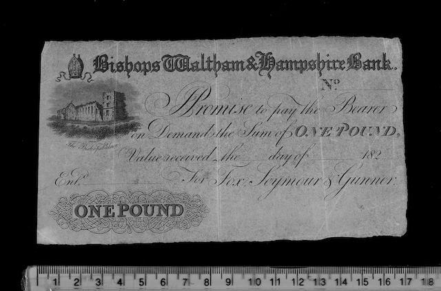 British, Provincial, Bishops Waltham & Hampshire Bank, One Pound 182-.